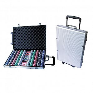 1000 PC Aluminum Poker Clip Case with Trolley